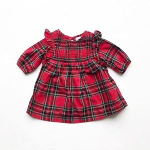 Old Navy red plaid smocked dress  EUC 0-3 months